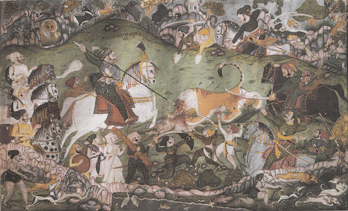 6 Chasse-aux-lions-peinture-indienne