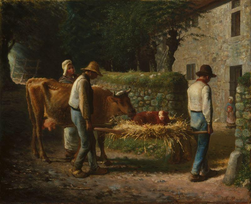 Millet Paysans portant un veau nouveau né