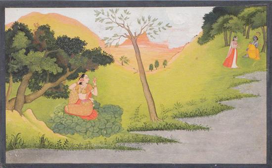 3 Rhada-se-pare-dans-l'attente-de-Krishna-peinture-indienne