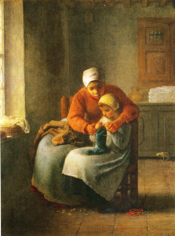 Millet La leçon de tricot