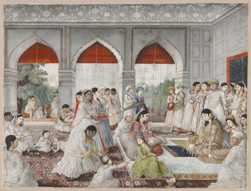 9 Dames de cour jouant aux échecs-peinture-indienne