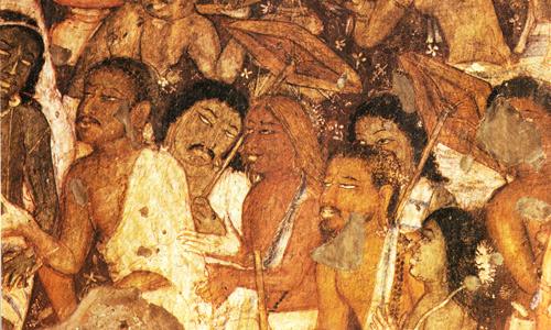11 Mendiants-demandant-l-aumone-au-prince-Vessantara-peinture-indienne1