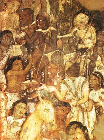12 Mendiants-recevant-l-aumone-du-prince-Vessantara-peinture-indienne2