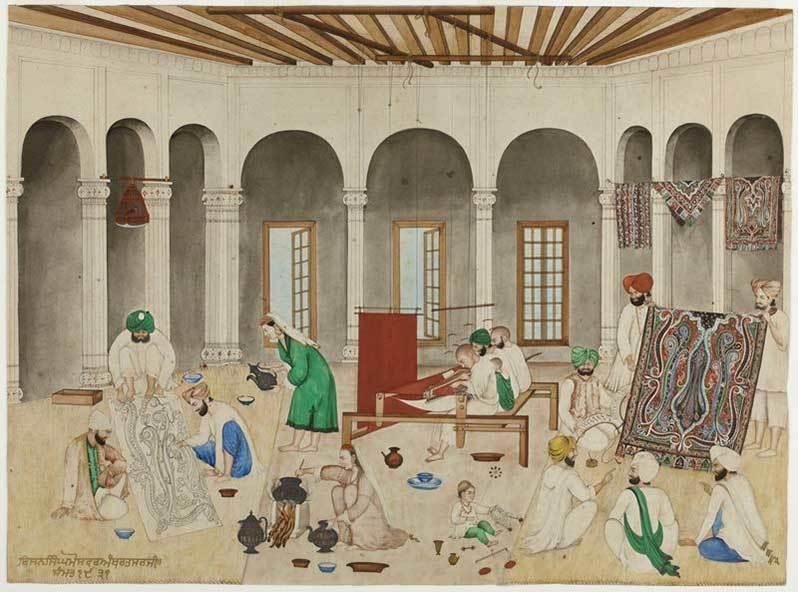 13 Atelier-de-tisserand-de-chales-de-cachemire-peinture-indienne