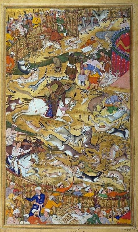 5 Akbar-chassant-dans-un-enclos-peinture-indienne