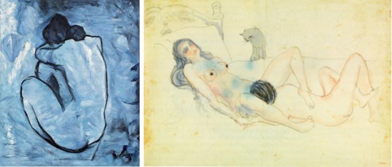 7-Nu-bleu-et-deux-figures-et-un-chat-Picasso