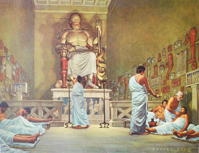 Représentation artistique du rituel d'incubation couleur r
