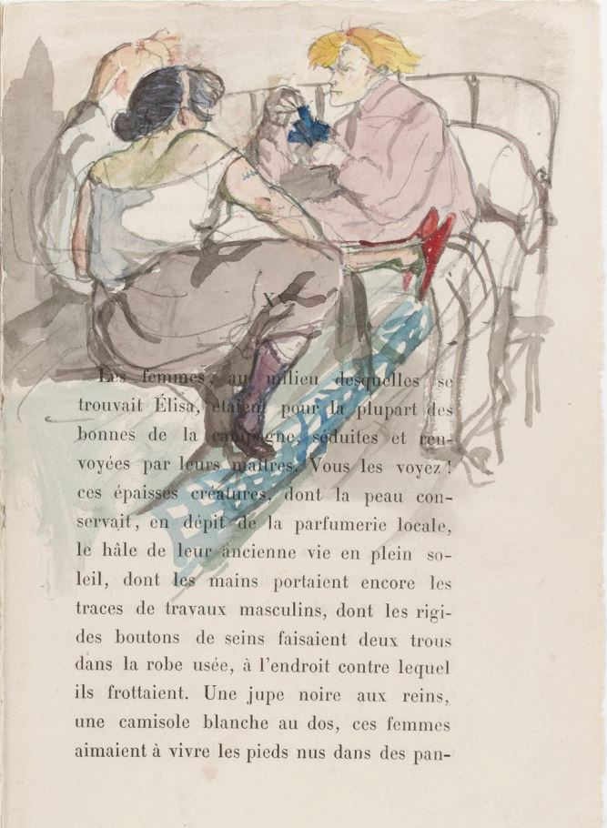 Toulouse-Lautrec Fille Elisa Prostituées sur un lit