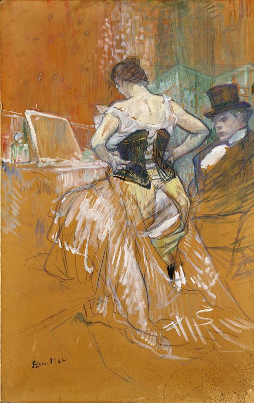 Toulouse-Lautrec Conquète de passage étude préparatoire Femme en corset 1896