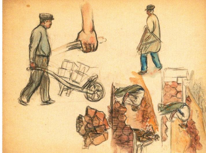Gaston Prunier  Sur le chantier feuille d'étude