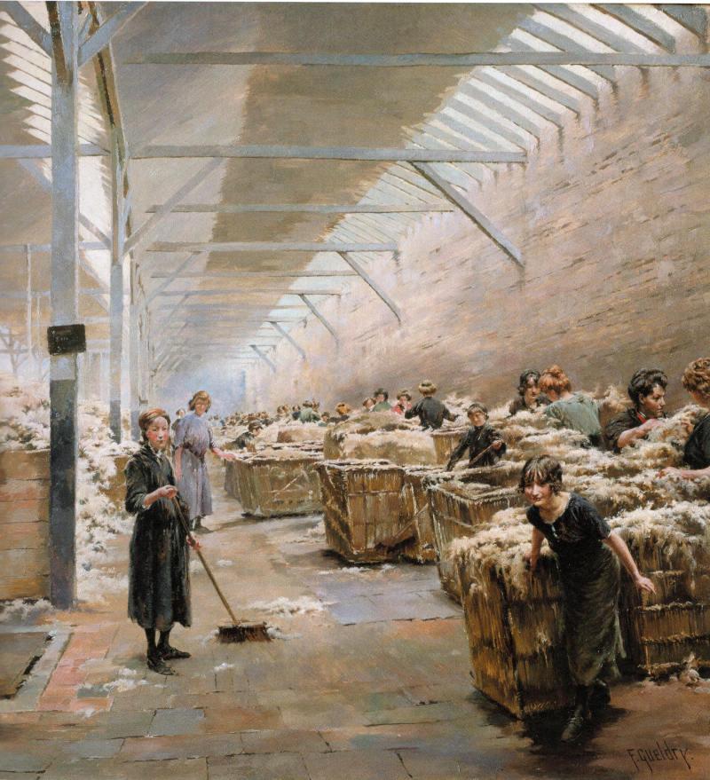 Ferdinand Joseph Gueldry Filature du Nord scène de triage de la laine
